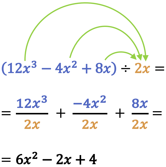 division of polynomials by monomials
