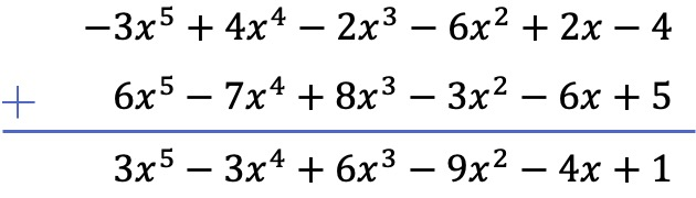 rules in addition of polynomials